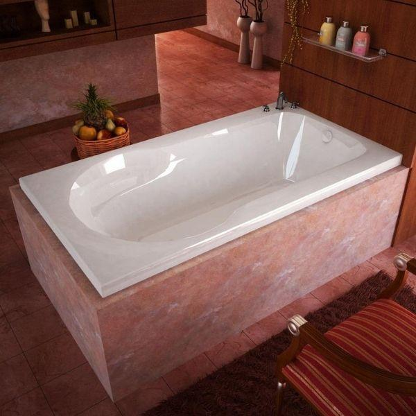 Atlantis Bathtubs Atlantis Whirlpools Zepher Rectangular Soaking Bathtub 3260Z Front Side View