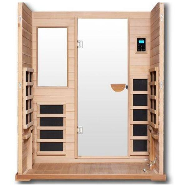 Clearlight Infrared Saunas Cedar Clearlight Premier Three Person Far Infrared Sauna Inside View IS-3
