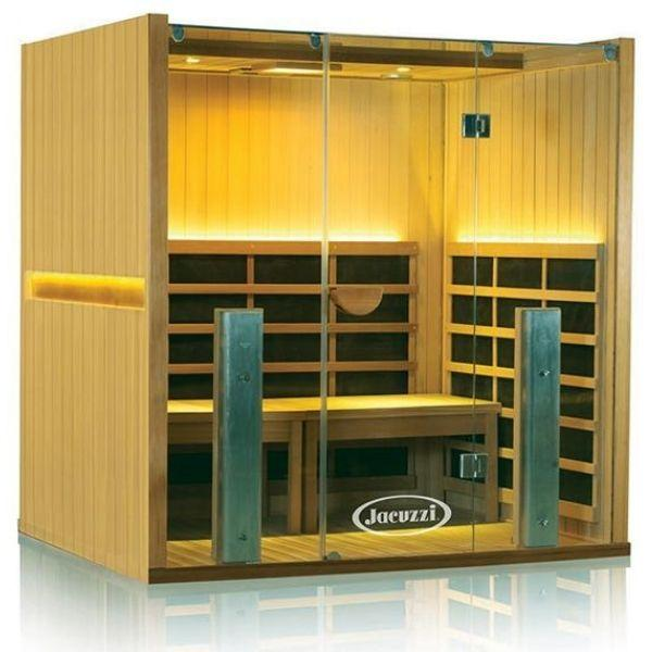Clearlight Infrared Saunas Clearlight Sanctuary Y Full Spectrum 4-Person Infrared Sauna Y-FS  Basswood Front Side View