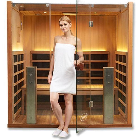 Clearlight Infrared Saunas Clearlight Sanctuary Y Full Spectrum 4-Person Infrared Sauna Y-FS Front View with Model