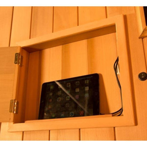 Clearlight Infrared Saunas Clearlight Sanctuary Y Full Spectrum 4-Person Infrared Sauna Y-FS  Tablet Charging View