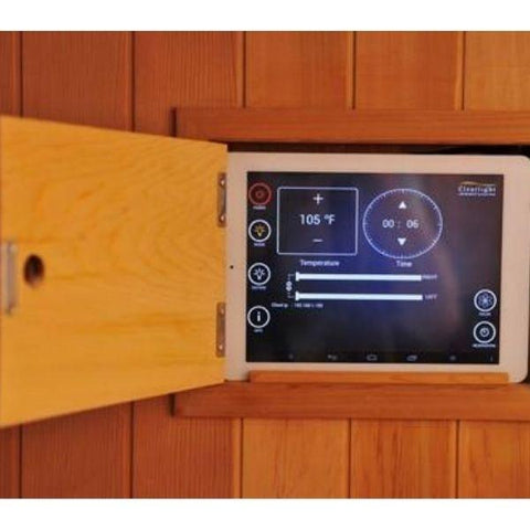 Clearlight Sanctuary 1 Full Spectrum One Person Infrared Sauna 1-FS Built Charging Tablet and Audio View