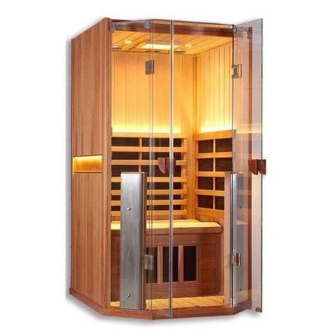 Clearlight Sanctuary 1 Full Spectrum One Person Infrared Sauna 1-FS Glass Door View