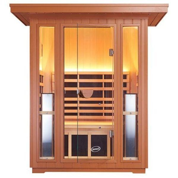 Clearlight Sanctuary 2 Outdoor Two-Person Full-Spectrum Infrared Sauna Front Door View