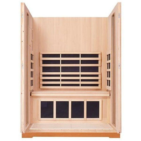 Clearlight Sanctuary 2 Outdoor Two-Person Full-Spectrum Infrared Sauna Inside View