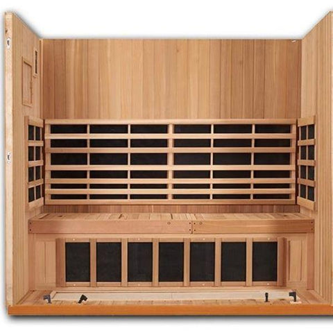 Clearlight Sanctuary 5 Outdoor Full Spectrum Five-Person Infrared Sauna Open Front Flat Bench View