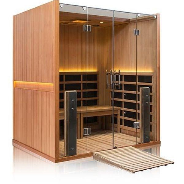 Clearlight Sanctuary Retreat Full Spectrum Four Person ADA-Compliant Infrared Sauna Front Side View with Wood Ramp View