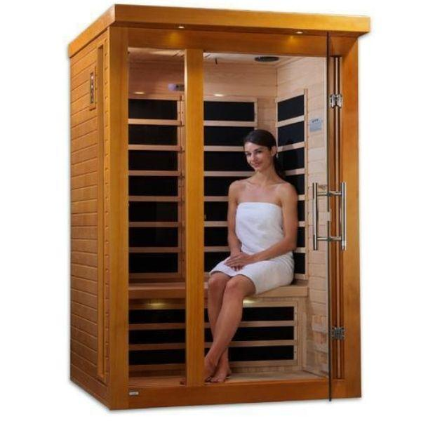 Golden Designs Dynamic Amodora Low EMF FAR Infrared Sauna DYN-6215-02 Open Front Door With Model View
