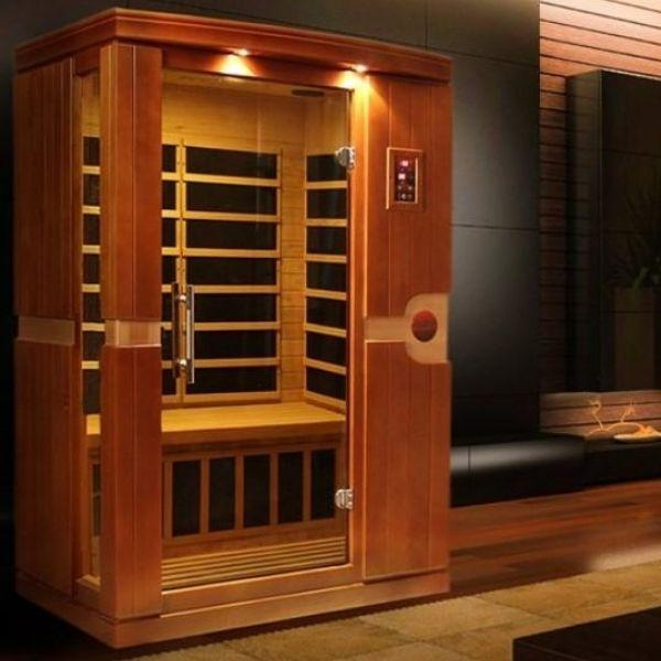 Golden Designs Dynamic Venice Low EMF FAR Infrared Sauna DYN-6210-01 Side Front View