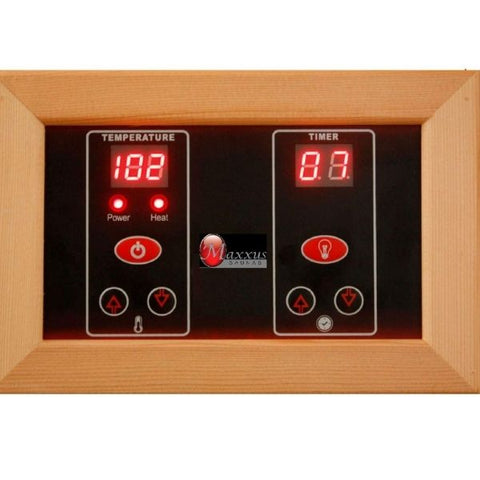 Golden Designs Maxxus Low EMF FAR Infrared Carbon Canadian Hemlock Sauna MX-K306-01 Control Panel View