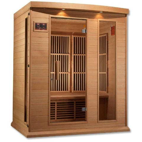 Golden Designs Maxxus Low EMF FAR Infrared Carbon Canadian Hemlock Sauna MX-K306-01 Front Side View