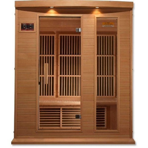 Golden Designs Maxxus Low EMF FAR Infrared Carbon Canadian Hemlock Sauna MX-K306-01 Front View