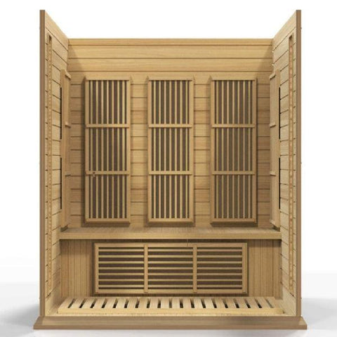 Golden Designs Maxxus Low EMF FAR Infrared Carbon Canadian Hemlock Sauna MX-K306-01 Open Front Bench View