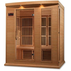 Golden Designs Maxxus Low EMF FAR Infrared Carbon Canadian Hemlock Sauna MX-K306-01 Side front View