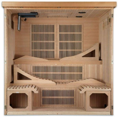 Golden Designs Monaco Near Zero EMF FAR Infrared Sauna Canadian Hemlock GDI-6996-01  Open front Carbon Heating Panel View