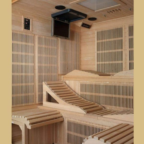 Golden Designs Monaco Near Zero EMF FAR Infrared Sauna Canadian Hemlock GDI-6996-01 Open Recliner Bench View