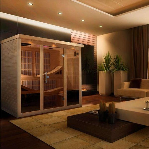 Golden Designs Monaco Near Zero EMF FAR Infrared Sauna Canadian Hemlock GDI-6996-01  Front View