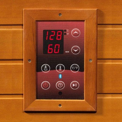 Golden Designs Monte Carlo Corner Near Zero EMF FAR Infrared Sauna Canadian Hemlock GDI-6445-01 Control Panel View