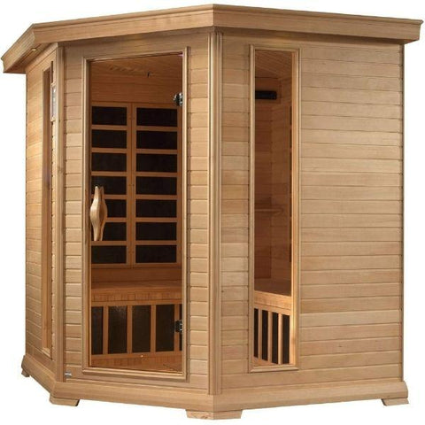 Golden Designs Monte Carlo Corner Near Zero EMF FAR Infrared Sauna Canadian Hemlock GDI-6445-01 Front Side View