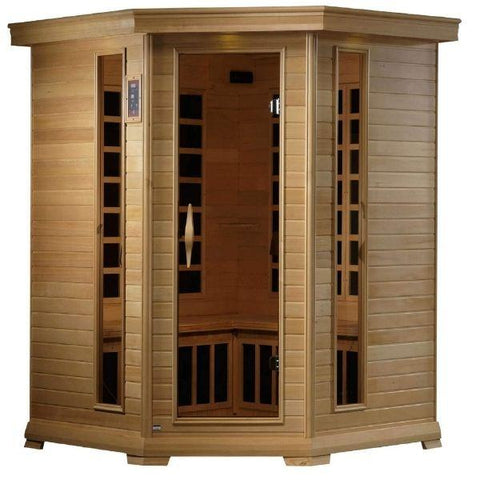 Golden Designs Monte Carlo Corner Near Zero EMF FAR Infrared Sauna Canadian Hemlock GDI-6445-01  Front View