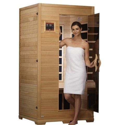Golden Designs Studio Series Low EMF FAR Infrared Sauna Canadian Hemlock Front View with Model View GDI-6109-01