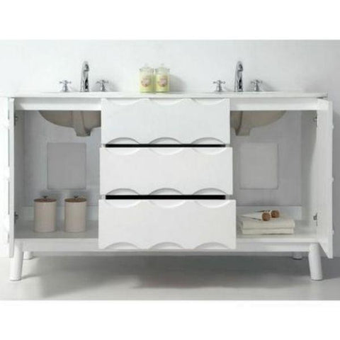 "Legion Furniture 60"" White Ceramic Double Bathroom Vanity WH5060 Storage View"