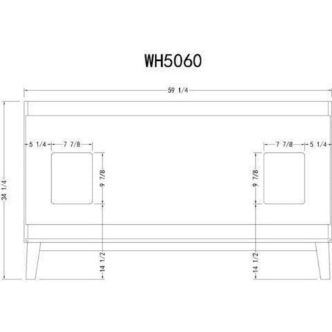 "Legion Furniture 60"" White Ceramic Double Bathroom Vanity WH5060 Measurement View"