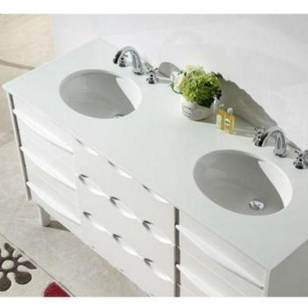 "Legion Furniture 60"" White Ceramic Double Bathroom Vanity WH5060 Top View"