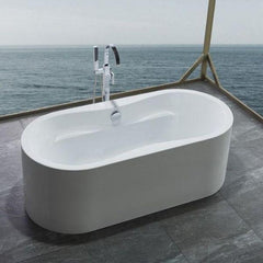 Legion Furniture Acrylic 66 White Soaking Freestanding Bathtub WE6847  Front Side View