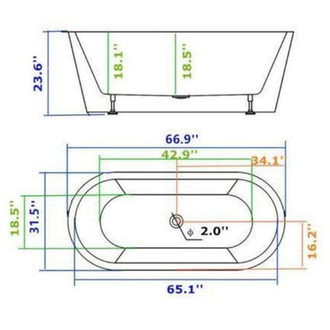Legion Furniture Acrylic 67.3 White Double Ended Freestanding Bathtub WE6815 Measurement View