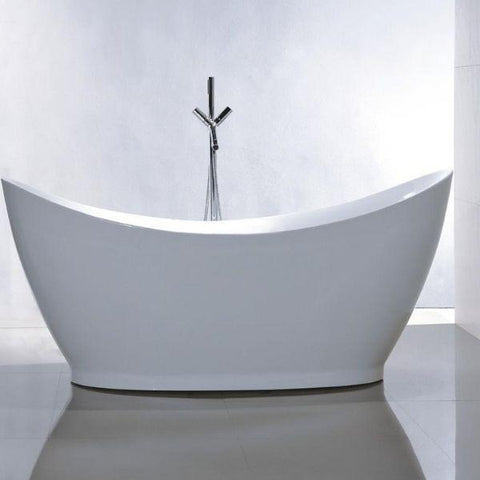 "Legion Furniture Acrylic 67.3"" White Freestanding Bathtub  Front View WE6513"