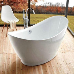 "Legion Furniture Acrylic 67.3"" White Freestanding Bathtub WE6513 Front Side View"