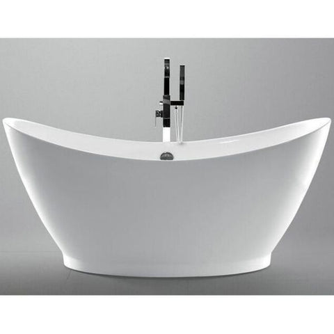 "Legion Furniture Acrylic 67.3"" White Freestanding Bathtub WE6513 Front View"