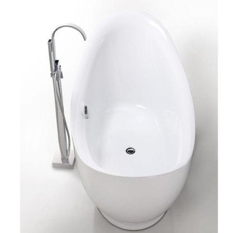 "Legion Furniture Acrylic 67.3"" White Freestanding Bathtub WE6513 Top Side View"