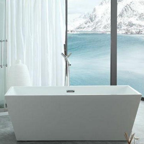 "Legion Furniture Acrylic 67"" White Double Ended Freestanding Bathtub WE6813 Front View"