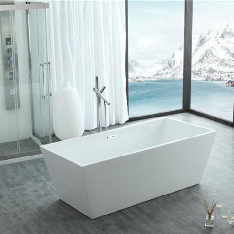 "Legion Furniture Acrylic 67"" White Double Ended Freestanding Bathtub WE6813 Front Side View"