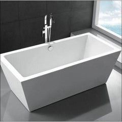 "Legion Furniture Acrylic 67"" White Double Ended Freestanding Bathtub WE6814 Front Side View"