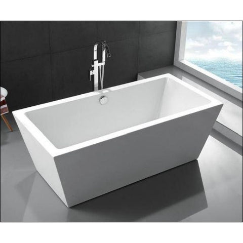 "Legion Furniture Acrylic 67"" White Double Ended Freestanding Bathtub WE6814 Top Front View"