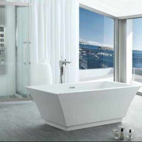 "Legion Furniture Acrylic 67"" White Double Ended Freestanding Bathtub WE6817 Front View"