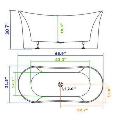 "Legion Furniture Acrylic 67"" White Double Slipper Freestanding Bathtub Measurement View  WE6805"