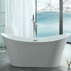 "Legion Furniture Acrylic 67"" White Double Slipper Freestanding Bathtub WE6805 Front View"