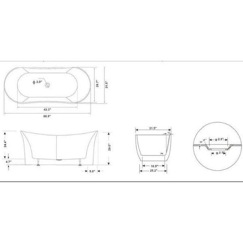 "Legion Furniture Acrylic 67"" White Double Slipper Freestanding Bathtub WE6805 Measurement View"