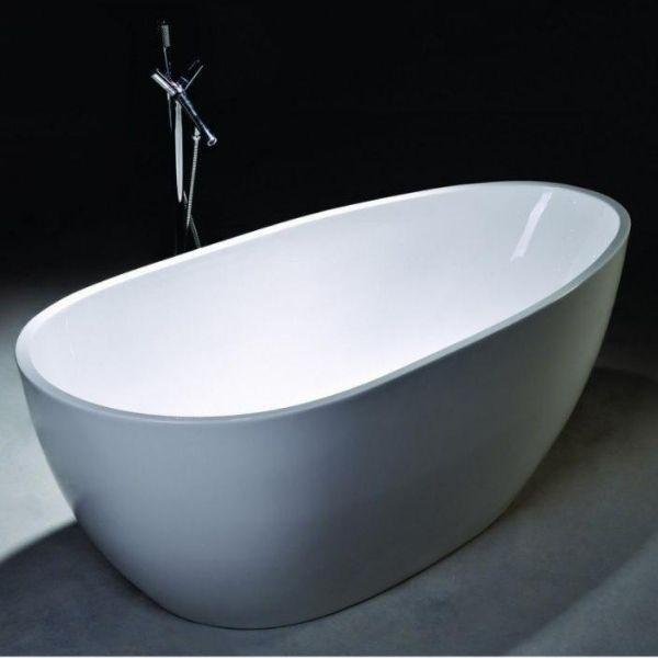 "Legion Furniture Acrylic 68"" White Egg Shaped Freestanding Bathtub WE6515 Front Side View"