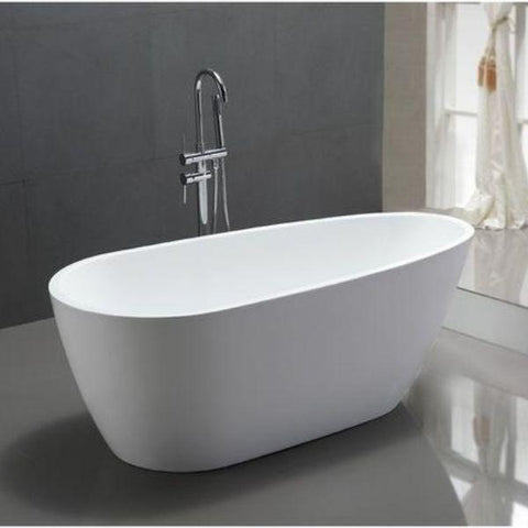 "Legion Furniture Acrylic 68"" White Egg Shaped Freestanding Bathtub WE6515 Front Top View"