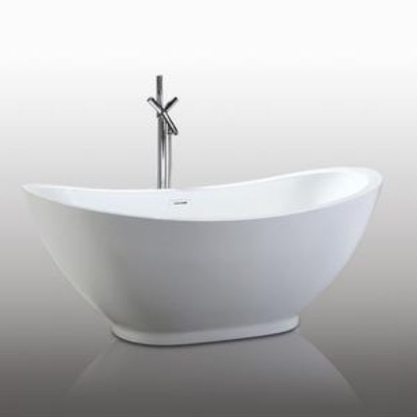 "Legion Furniture Acrylic 69"" White Double Slipper Freestanding Bathtub WE6845  Front Side View"