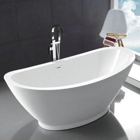 "Legion Furniture Acrylic 69"" White Double Slipper Freestanding Bathtub WE6845 Front Top View"