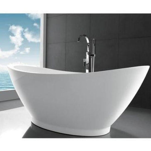 "Legion Furniture Acrylic 69"" White Double Slipper Freestanding Bathtub WE6845 Side Front View"