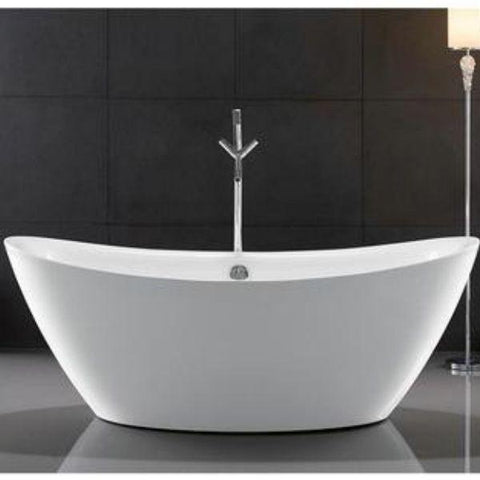 "Legion Furniture Acrylic 71"" White Freestanding Bathtub Front View WE6842"