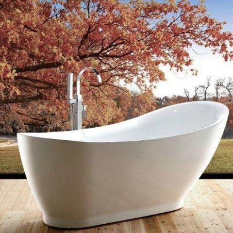 Legion Furniture Acrylic 71 White Freestanding Bathtub WE6512  Side Front View