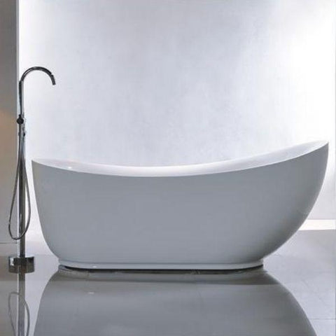 "Legion Furniture Acrylic 71"" White Freestanding Bathtub WE6512 Side View"